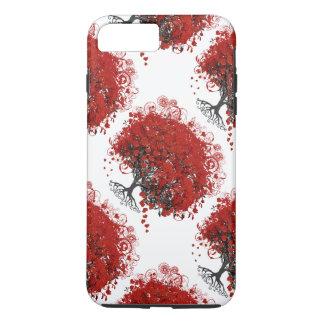 Arbre rouge de feuille de coeur coque iPhone 7 plus