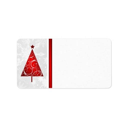 Arbre rouge de Noël - étiquettes postales vides Étiquettes D'adresse
