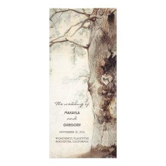arbre rustique et programmes découpés de mariage cartes doubles