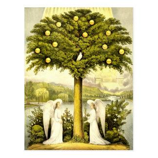 Arbre vintage de l'illustration chrétienne 1892 de carte postale