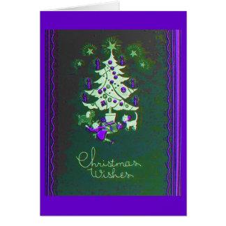 Arbre vintage de Noël Carte De Vœux