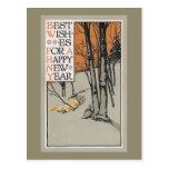 Arbres d'hiver et année vintage de ciel orange nou cartes postales
