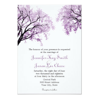 Arbres pourpres en pastel - invitations de mariage