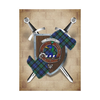 Arbuthnott Clan Badge Crossed Swords Canvas Print