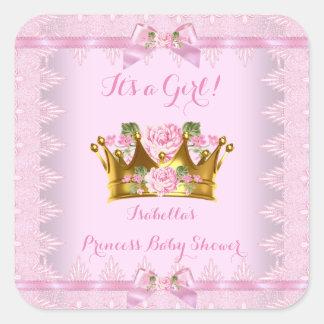 Arc de dentelle de rose de rose de princesse baby sticker carré