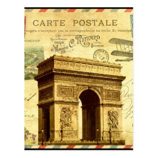 Arc de Triomphe antique postcard collage Paris