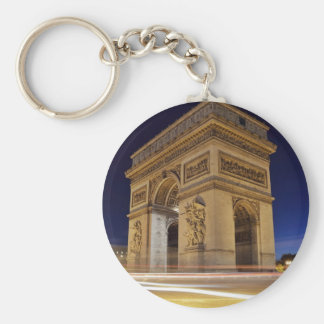 Arc De Triomphe at night Basic Round Button Keychain