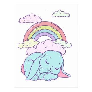 Arc-en-ciel mignon de lapin de bande dessinée de carte postale