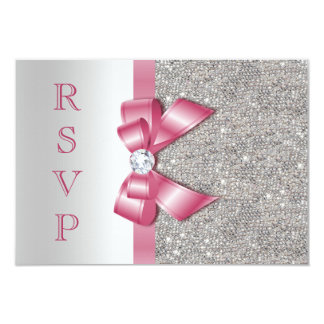Arc et diamants roses RSVP de Faux Carton D'invitation 8,89 Cm X 12,70 Cm