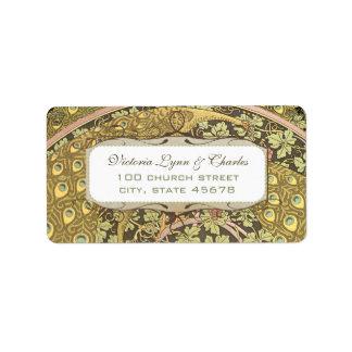 Arch Art Nouveau Vineyard Peacock Address Labels