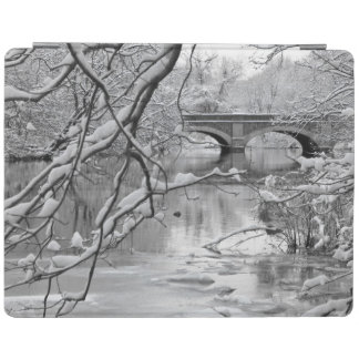 Arch Bridge over Frozen River in Winter iPad Cover