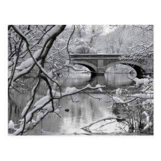 Arch Bridge over Frozen River in Winter Postcard