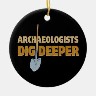 Archaeologist Dig Round Ceramic Ornament