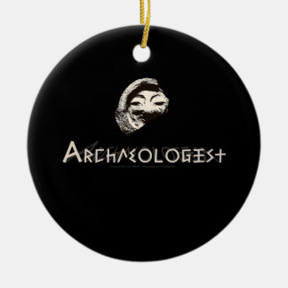 Archaeologist in Primitive Greek Letters Ceramic Ornament