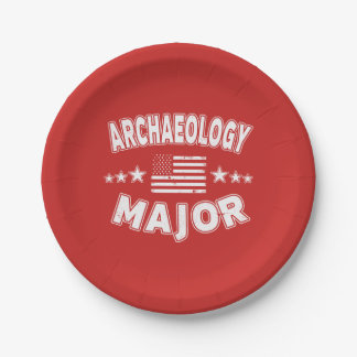 Archaeology College Major Patriotic American Flag Paper Plate