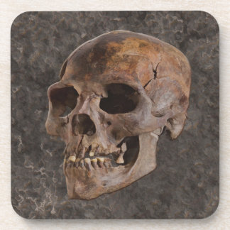 Archaeology II - Skull on Stone-effect Background Drink Coaster