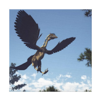 Archaeopteryx birds dinosaurs flying - 3D render Canvas Print