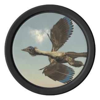 Archaeopteryx birds dinosaurs flying - 3D render Poker Chips