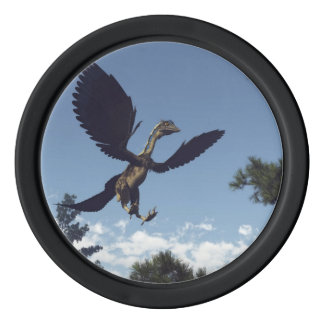 Archaeopteryx birds dinosaurs flying - 3D render Poker Chips