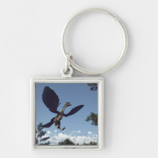 Archaeopteryx birds dinosaurs flying - 3D render Silver-Colored Square Keychain