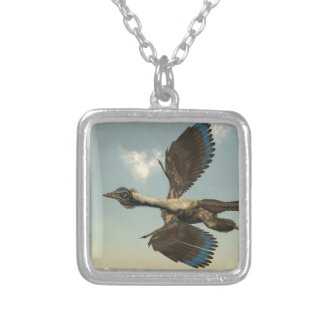 Archaeopteryx birds dinosaurs flying - 3D render Silver Plated Necklace