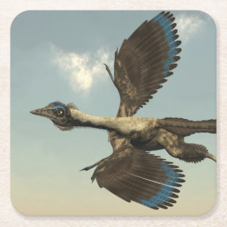 Archaeopteryx birds dinosaurs flying - 3D render Square Paper Coaster