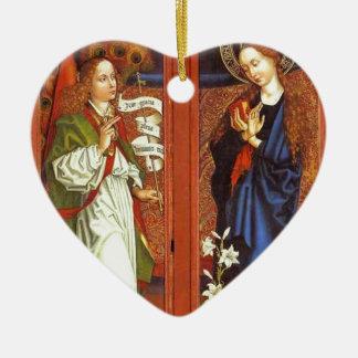 Archangel Gabriel - Annunciation - Schongauer Ceramic Heart Ornament