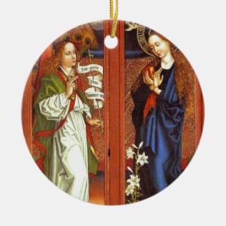 Archangel Gabriel - Annunciation - Schongauer Round Ceramic Ornament