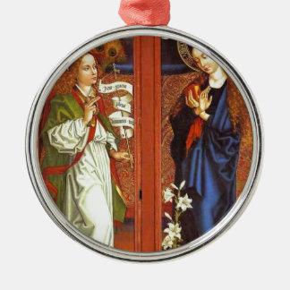 Archangel Gabriel - Annunciation - Schongauer Silver-Colored Round Ornament