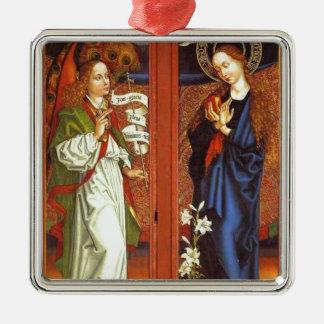 Archangel Gabriel - Annunciation - Schongauer Silver-Colored Square Ornament