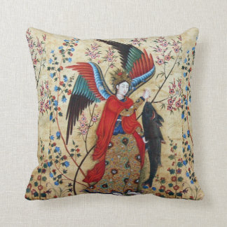 ARCHANGEL RAPHAEL AND FISH PARCHMENT THROW PILLOW