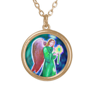 Archangel Raphael Gold Finish Necklace (small)