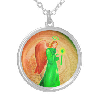 Archangel Raphael Silver Plated Round Necklace
