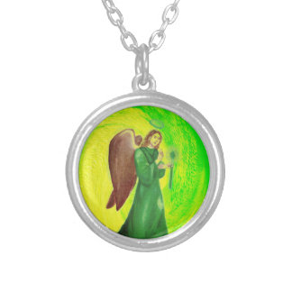 Archangel Raphael Silver Plated Round Necklace#2 Silver Plated Necklace