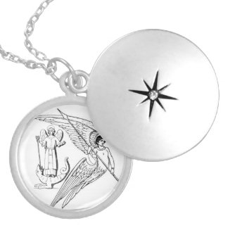 Archangels With Spear And Lizard Locket Necklace
