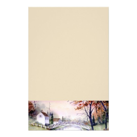 Arched Bridge Watercolor Painting Stationery