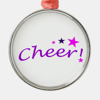Arched Cheer with Stars Silver-Colored Round Ornament