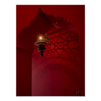 Arched entrance and illuminated lantern poster