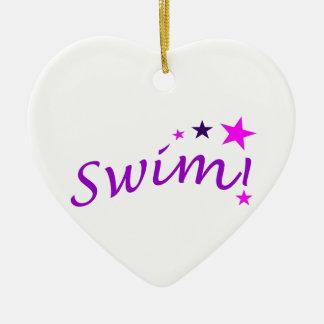 Arched Swim with Stars Ceramic Ornament