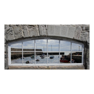 Arched Window with Fishing Boats Poster