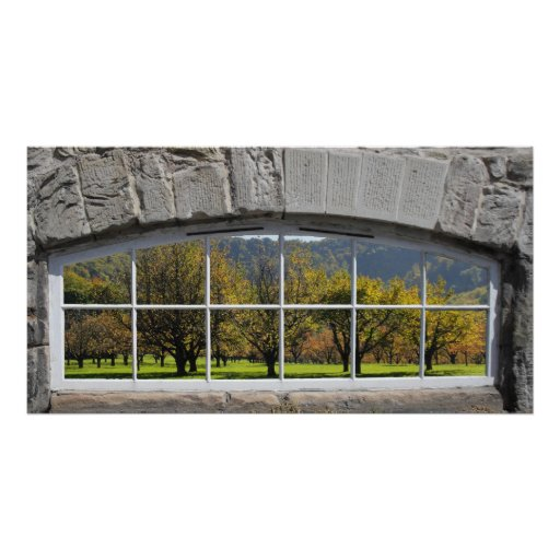Arched Window with Orchard View Poster