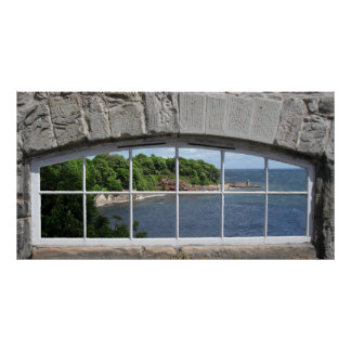 Arched Window with Sea View Print