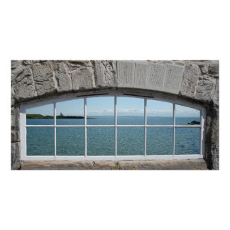 Arched Window with View of Sparkling Sea Poster
