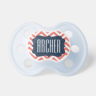 """Archer"" Personalized Name - Chevron Print Pacifier"