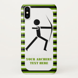 Archer with his bow black, green archery  stripes iPhone x case