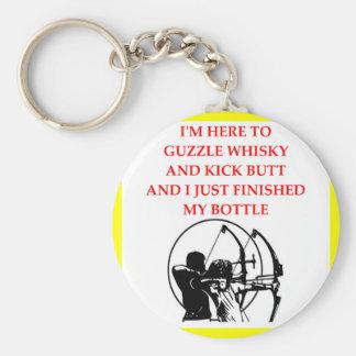 archery basic round button keychain