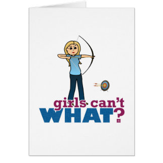 Archery Girl in Blue - Blonde Greeting Cards
