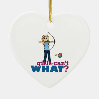 Archery Girl in Blue - Blonde Ceramic Heart Ornament