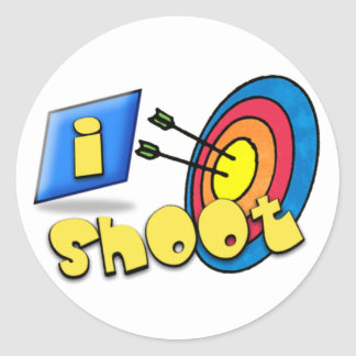 ARCHERY ~ iSHOOT - I SHOOT Classic Round Sticker
