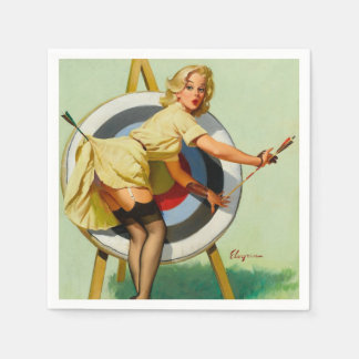 Archery Pin-Up Girl Paper Napkins